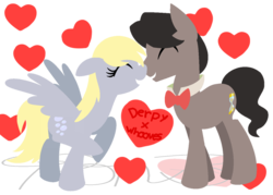 Size: 1024x734 | Tagged: artist:mylittlepon3lov3, derpy hooves, doctorderpy, doctor whooves, eleventh doctor, female, male, nuzzling, pony, safe, shipping, straight, time turner