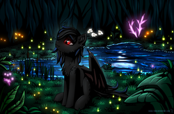 Size: 2300x1500 | Tagged: safe, artist:shido-tara, oc, bat pony, pony, bat pony oc, festral, flower, forest, glow, glowing eyes, moon, night, pond, sitting, slit eyes, watching