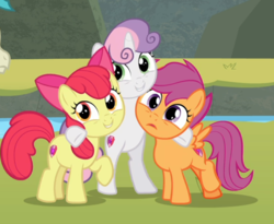 Size: 810x663 | Tagged: apple bloom, bipedal, cropped, cutie mark, cutie mark crusaders, earth pony, female, group hug, hug, pegasus, pony, safe, scootaloo, screencap, smiling, snipping tool, spoiler:s08e06, surf and/or turf, sweetie belle, the cmc's cutie marks, unicorn