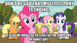Size: 1280x720 | Tagged: apple cider, applejack, apple tree, caption, cider, cider mug, comments locked down, cowboy hat, cutie mark, debate in the comments, earth pony, edit, edited screencap, end of ponies, family guy, fluttershy, hat, hoof hold, image macro, impact font, looking at you, mug, optimism, pegasus, pinkie pie, pony, rarity, safe, screencap, season 9, series finale blues, take that, tankard, text, the simpsons, the super speedy cider squeezy 6000, tree, truth, twilight sparkle, unicorn, unicorn twilight