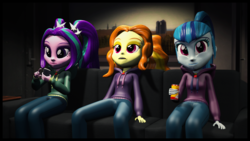 Size: 1920x1080 | Tagged: 3d, adagio dazzle, aria blaze, artist:razethebeast, clothes, couch, equestria girls, hoodie, pants, safe, sitting, smiling, sonata dusk, source filmmaker, the dazzlings