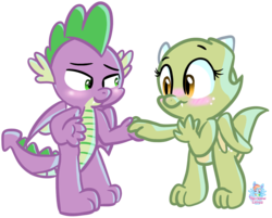Size: 1214x975 | Tagged: artist:rainbow eevee, blushing, cute, dragon, holding hands, oc, oc:jade, safe, simple background, spike, transparent background, winged spike, wings