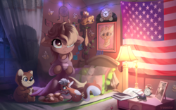 Size: 4000x2500   Tagged: safe, artist:freeedon, oc, oc only, bear, pony, squirrel, unicorn, semi-anthro, :<, :i, american flag, animated in description, bed, bedroom, book, cheek fluff, clock, clothes, commission, curtains, cute, ear fluff, eating, eye clipping through hair, female, filly, flag, floppy ears, fluffy, food, grin, hoof hold, lamp, leg fluff, looking up, mare, neck fluff, night, picture, picture frame, pillow, pipe, robe, sitting, smiling, squee, stars, sticky note, sweater, tea, window