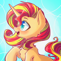 Size: 2048x2048 | Tagged: artist:chaosangeldesu, blushing, female, mare, open mouth, pony, safe, solo, sunset shimmer, unicorn