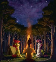 Size: 1920x2095 | Tagged: apple bloom, artist:samum41, bow, cutie mark crusaders, earth pony, female, filly, fire, grass, hair bow, night, pegasus, pony, safe, scenery, scootaloo, sitting, solo, spread wings, stars, sweetie belle, tree, unicorn, wings