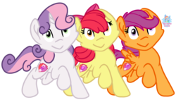 Size: 1939x1101 | Tagged: apple bloom, artist:rainbow eevee, cute, cutie mark, cutie mark crusaders, derp, earth pony, female, pegasus, safe, scootaloo, simple background, sweetie belle, transparent background, unicorn, wat