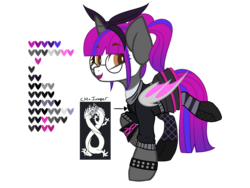 Size: 2000x1500 | Tagged: alicorn, alicorn oc, artist:im-not-skittles, artist:rainbowkookiekat, base used, bat pony, bat pony alicorn, bat pony oc, boots, bow, clothes, dragon, face paint, female, fishnets, fortnite, glasses, gloves, hair bow, jumper, lipstick, mare, oc, oc:lolita lace, oc only, pigtails, pony, raised hoof, reference sheet, safe, shoes, skirt, socks, solo, spiked wristband, stockings, striped socks, thigh highs, twintails, wristband, zettai ryouiki