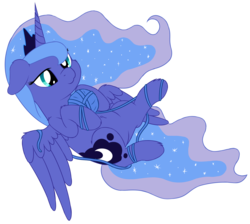 Size: 3744x3348 | Tagged: :3, alicorn, artist:djdavid98, art trade, behaving like a cat, cheek fluff, cute, ear fluff, female, floppy ears, leg fluff, lunabetes, mare, on back, pony, princess luna, safe, shoulder fluff, simple background, solo, spread wings, tangled up, transparent background, wing fluff, yarn, yarn ball
