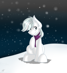 Size: 2173x2365 | Tagged: artist:tehshockwave, clothes, cute, double dawwmond, double diamond, ear fluff, male, pony, safe, scarf, snow, snowfall, solo, stallion, winter