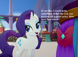 Size: 1080x792 | Tagged: bow, bronybait, canterlot, cropped, cute, dialogue, edit, edited screencap, my little pony: the movie, pony, raribetes, rarity, safe, screencap, tent
