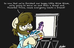 Size: 5200x3442 | Tagged: safe, artist:bobthedalek, starlight glimmer, oc, oc:kettle master, earth pony, pony, unicorn, beard, black background, bob ross, canvas, clothes, cute, easel, facial hair, female, glim glam, glimmy, hoof hold, implied trixie, looking at you, male, mare, open mouth, paint, paintbrush, painting, palette, parody, ponified, reference, shirt, signature, simple background, sitting, smiling, stallion, text, the joy of painting