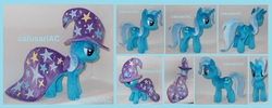 Size: 3600x1436 | Tagged: safe, artist:calusariac, trixie, pony, cape, clothes, hat, irl, photo, plushie, solo, trixie's cape, trixie's hat