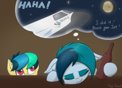 Size: 1864x1356 | Tagged: artist:puetsua, bottle, eyes closed, female, filly, floppy ears, mare, moon, oc, oc:apogee, oc:delta vee, oc only, pegasus, pony, safe, space shuttle