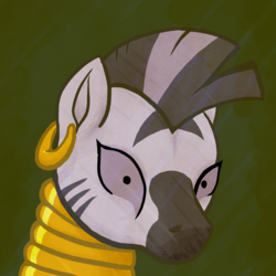 Size: 2000x2000 | Tagged: female, mare, pony, safe, simple background, solo, zebra, zecora