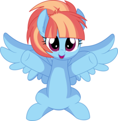 Size: 6747x6899 | Tagged: absurd res, artist:cyanlightning, cute, female, freckles, looking at you, mare, open mouth, pegasus, pony, safe, simple background, smiling, spread wings, .svg available, transparent background, vector, windybetes, windy whistles, wings