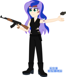 Size: 1250x1461 | Tagged: ak-47, artist:anime-equestria, assault rifle, bandage, boots, clothes, equestria girls, eyeshadow, frown, grenade, gun, headband, high heel boots, holster, human, human coloration, humanized, knife, makeup, princess luna, rifle, safe, scratches, shoes, simple background, sleeveless, solo, torn clothes, transparent background, weapon