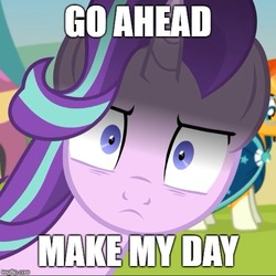 Size: 500x500 | Tagged: safe, artist:agrol, edit, starlight glimmer, sunburst, pony, time for two, caption, carnival, clint eastwood, close-up, cropped, death stare, dirty harry, extreme close up, fair, female, frown, glarelight glimmer, hair flip, horn, image macro, impact font, inconvenient starlight, looking at you, male, mare, meme, reaction image, scary, shadow, shipping, show accurate, shrunken pupils, solo focus, square, stallion, starburst, stare, straight, sudden impact, text