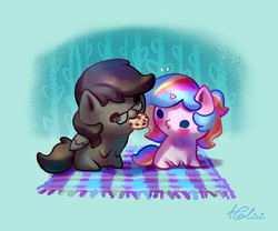 Size: 1378x1146 | Tagged: safe, artist:holivi, oc, oc only, oc:oofy colorful, pegasus, pony, unicorn, abstract background, blue background, blushing, chibi, commission, cookie, couple, female, food, glasses, picnic blanket, simple background