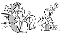 Size: 3435x2133   Tagged: safe, artist:wangkingfun, oc, oc:black eightball, oc:velvet remedy, alicorn, pony, unicorn, fallout equestria, fallout equestria: project horizons, alicorn oc, artificial alicorn, bipedal, black and white, clothes, cutie mark, eyes closed, fanfic, fanfic art, female, force field, glowing horn, healing potion, health potion, hooves, horn, levitation, lineart, magic, mare, monochrome, open mouth, pony icon, potion, shield, simple background, sitting, standing, telekinesis, the goddess, tongue out, weapon, white background, wings