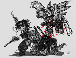Size: 1024x788 | Tagged: safe, artist:thurder2020, pony, fallout equestria, crossover, jean pierre polnareff, jojo's bizarre adventure, jotaro kujo, noriaki kakyoin, ponified
