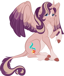 Size: 1024x1211 | Tagged: safe, artist:lisianthus, oc, oc only, oc:shimmering spectacle, alicorn, pony, alicorn oc, cloven hooves, colored wings, colored wingtips, curved horn, cutie mark, female, hair over one eye, horn, leonine tail, magical lesbian spawn, magical threesome spawn, mare, multicolored wings, multiple parents, offspring, pale belly, parent:starlight glimmer, parent:sunset shimmer, parent:twilight sparkle, parents:twishimmerglimmer, redesign, simple background, socks (coat marking), solo, spread wings, star (coat marking), transparent background, two toned wings, unshorn fetlocks
