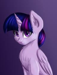 Size: 3048x4000 | Tagged: alicorn, artist:qbellas, bust, looking at you, pony, safe, solo, twilight sparkle, twilight sparkle (alicorn)