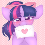 Size: 2952x3000 | Tagged: artist:adostume, blushing, bow, cute, female, hair bow, heart eyes, love letter, mare, mouth hold, pony, safe, smiling, solo, twiabetes, twilight sparkle, wingding eyes