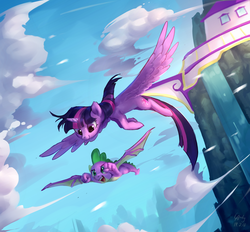 Size: 2400x2225 | Tagged: alicorn, artist:luciferamon, cloud, dragon, duo, female, flying, male, mare, pony, safe, sky, smiling, spike, twilight sparkle, twilight sparkle (alicorn), winged spike