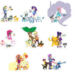 Size: 2784x2644 | Tagged: safe, artist:selenaede, artist:the-75th-hunger-game, applejack, fluttershy, pinkie pie, rainbow dash, rarity, sci-twi, starlight glimmer, sunset shimmer, twilight sparkle, bunnelby, carbink, emolga, espeon, fennekin, flareon, furfrou, geodude, glaceon, gothorita, greninja, herdier, jolteon, kadabra, leafeon, liepard, luxio, meowth, ninetales, onix, pumpkaboo, purugly, rapidash, rowlet, sandile, sawsbuck, slurpuff, sylveon, turtwig, equestria girls, equestria girls series, alolan geodude, alolan meowth, eeveelution, equestria girls specials, human coloration, humane five, humane seven, humane six, my little pokémon, pokéball, pokémon, pokémon trainer, ribombee