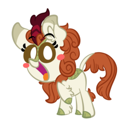 Size: 1500x1500 | Tagged: dead source, safe, artist:amethystcutey, autumn blaze, kirin, sounds of silence, awwtumn blaze, blush sticker, blushing, chest fluff, chibi, cloven hooves, cute, ear fluff, female, fluffy, happy, kirinbetes, leg fluff, looking at you, open mouth, raised hoof, simple background, smiling, solo, tongue out, transparent background, white pupils