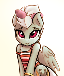 Size: 1496x1772 | Tagged: artist:jetwave, clothes, cute, diafleetes, female, fleetfoot, mare, pegasus, pony, safe, simple background, solo, sunglasses, swimsuit, white background