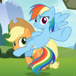 Size: 868x863 | Tagged: safe, screencap, applejack, rainbow dash, earth pony, pegasus, pony, non-compete clause, cropped, female, flying, mare, pointing, raised hoof, spread wings, underhoof, wings