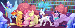 Size: 6000x2287 | Tagged: safe, artist:cartoonboyfriends, applejack, fluttershy, pinkie pie, pound cake, pumpkin cake, rainbow dash, rarity, twilight sparkle, alicorn, earth pony, pegasus, pony, unicorn, :i, applejack's hat, blurry background, blushing, book, bookshelf, camera, chair, chest fluff, couch, cowboy hat, crying, cute, ear fluff, ear piercing, earring, eyelashes, eyes closed, eyeshadow, feather, female, floppy ears, flying, freckles, glowing horn, hair tie, happy, hat, hooves on cheeks, horn, hug, indoors, jewelry, large wings, lesbian, levitation, looking at each other, looking at something, loving gaze, magic, makeup, mane six, mare, messy mane, omniship, one eye closed, open mouth, photo album, piercing, polyamory, ponytail, raised hoof, ruffled feathers, scrunchy face, shipping, sitting, smiling, sparkles, spread wings, squishy cheeks, standing, stetson, story in the comments, tears of joy, teary eyes, telekinesis, twilight sparkle (alicorn), twilight's castle, wings