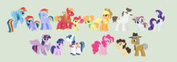 Size: 3212x1128 | Tagged: safe, artist:unoriginai, apple bloom, applejack, big macintosh, hondo flanks, igneous rock pie, pinkie pie, rainbow blaze, rainbow dash, rarity, shining armor, twilight sparkle, oc, oc:apple tart, oc:audible, oc:aurora, oc:chunky chocolate chip, oc:rainbow gleam, alicorn, earth pony, pegasus, pony, unicorn, applecest, applejack's hat, applemac, base used, because, blazedash, brother and sister, cowboy hat, cute, description is relevant, father and daughter, female, goddamnit unoriginai, hat, incest, infidelity, jossed, male, mare, next generation, offspring, parent:applejack, parent:big macintosh, parent:hondo flanks, parent:igneous rock, parent:pinkie pie, parent:rainbow blaze, parent:rainbow dash, parent:shining armor, parent:twilight sparkle, parents:applemac, parents:blazedash, parents:pinkierock, parents:rariflanks, parents:shining sparkle, piecest, pinkierock, product of incest, raincest, raricest, rariflanks, shiningsparkle, shipping, stallion, stetson, story included, straight, twicest, twilight sparkle (alicorn), updated, why