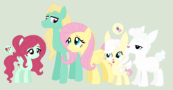 Size: 1044x544 | Tagged: safe, artist:unoriginai, angel bunny, fluttershy, zephyr breeze, oc, hybrid, pony, base used, cute, female, goddamnit unoriginai, hybrid offspring, incest, male, offspring, parent:fluttershy, parent:zephyr breeze, parents:zephyrshy, ponified, product of incest, shipping, siblings, story included, straight, things breeding that should not breed, updated, what has science done, why, zephyrshy