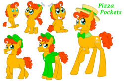Size: 1024x674 | Tagged: adult, artist:crazynutbob, baby, boater hat, bowtie, cap, clothes, colt, diaper, foal, freckles, grin, growing up, hat, jacket, male, oc, oc:pizza pockets, offspring, parent:cheese sandwich, parent:pinkie pie, parents:cheesepie, propeller hat, safe, smiling, stallion, teenager