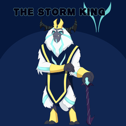 Size: 7000x7000 | Tagged: alternate hairstyle, alternate timeline, alternate universe, alternate version, artist:chedx, comic:the storm kingdom, my little pony: the movie, ruler, safe, satyr, simple background, solo, storm king
