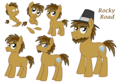 Size: 1024x694 | Tagged: adult, artist:crazynutbob, baby, beard, colt, diaper, facial hair, foal, goatee, growing up, grumpy, hat, male, oc, oc:rocky road, offspring, parent:cheese sandwich, parent:pinkie pie, parents:cheesepie, safe, stallion, teenager