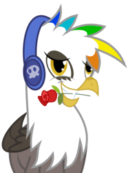 Size: 763x1026 | Tagged: artist:chipmagnum, flower, griffon, headphones, mouth hold, oc, oc:skoop coffe, rose, safe, simple background, solo, transparent background, vector