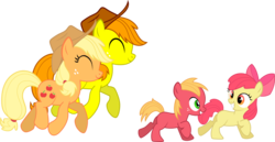 Size: 1151x592 | Tagged: age regression, apple bloom, applejack, artist:chipmagnum, big macintosh, colt, colt big macintosh, earth pony, hat, male, oc, oc:applejuice, pony, safe, simple background, stallion, transparent background, vector
