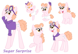 Size: 1024x710 | Tagged: adult, artist:crazynutbob, baby, bandana, bow, button, clothes, diaper, female, filly, foal, goggles, growing up, hair bow, mare, neckerchief, oc, oc:sugar surprise, offspring, parent:cheese sandwich, parent:pinkie pie, parents:cheesepie, pigtails, safe, shirt, teenager
