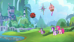 Size: 1280x720 | Tagged: alicorn, kite, kite flying, ladybug, pinkie pie, pony, safe, screencap, spoiler:interseason shorts, starlight glimmer, starlight the hypnotist, that pony sure does love kites, twilight sparkle, twilight sparkle (alicorn)