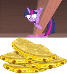 Size: 1281x1420 | Tagged: safe, screencap, twilight sparkle, alicorn, starlight the hypnotist, spoiler:interseason shorts, behaving like a cat, floppy ears, food, quesadilla, scared, solo, terrified, they're just so cheesy, turophobia, twilight sparkle (alicorn)