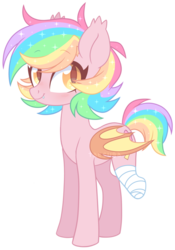 Size: 1818x2590 | Tagged: safe, artist:hawthornss, oc, oc only, oc:paper stars, bat pony, pony, amputee, bandage, bat pony oc, blushing, cute, cute little fangs, ear fluff, fangs, female, looking at you, mare, missing limb, simple background, slit eyes, slit pupils, solo, sparkles, sparkly mane, transparent background, watermark