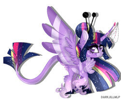 Size: 689x562 | Tagged: safe, artist:darkjillmlp123, twilight sparkle, alicorn, pony, colored wings, leonine tail, multicolored wings, rainbow power, simple background, solo, sparkles, transparent background, twilight sparkle (alicorn), unshorn fetlocks