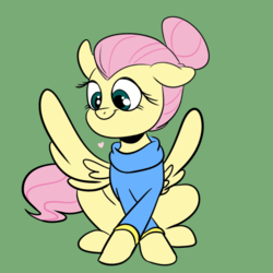 Size: 768x768 | Tagged: alternate hairstyle, artist:ozzybae, clothes, crossed hooves, cute, fluttershy, green background, hair bun, heart, safe, shyabetes, simple background, smiling, solo, spread wings, sweater, sweatershy, wings