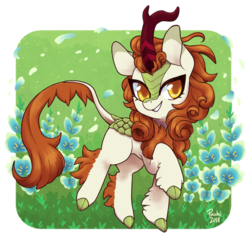Size: 942x900 | Tagged: safe, artist:paichi-art, autumn blaze, kirin, sounds of silence, awwtumn blaze, cloven hooves, colored hooves, colored pupils, cute, female, flower, foal's breath, leg fluff, smiling, solo