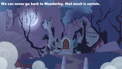 Size: 1280x720 | Tagged: safe, edit, edited screencap, screencap, friendship is magic, season 1, bridge, castle of the royal pony sisters, everfree forest, mist, moon, moonlight, night, no pony, quote, ruins, text, tree