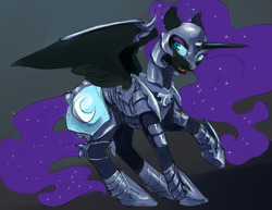Size: 1280x989   Tagged: safe, artist:silfoe, nightmare moon, alicorn, pony, moonsetmlp, alternate universe, armor, description is relevant, ethereal mane, female, gradient background, mare, raised hoof, solo, spread wings, starry mane, wings