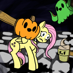 Size: 512x512 | Tagged: artist needed, choker, chokershy, fluttershy, food, frown, ghost, ice cream, pegasus, pony, pumpkin, safe, specimen 1, spooky's house of jump scares